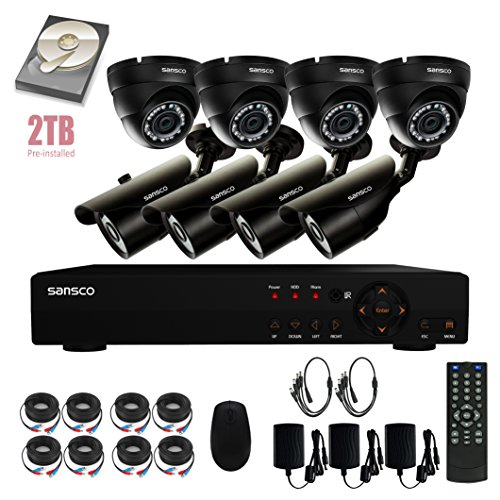 Price comparison product image SANSCO 8CH 1080N DVR Recorder CCTV Security Camera System with 8x HD 1MP Outdoor Cameras & EXCLUSIVE 2TB HARD DRIVE (1280x720 Pixels,  Rapid USB Backup,  Vandal / Water-Proof,  Automatic Day / Night Vision)