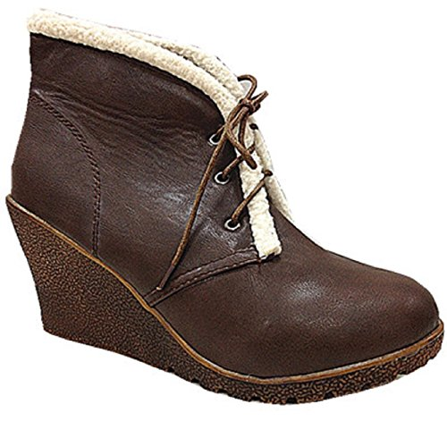 Ankle boots women Brown Lace Up Shoes Boots Compensated C19