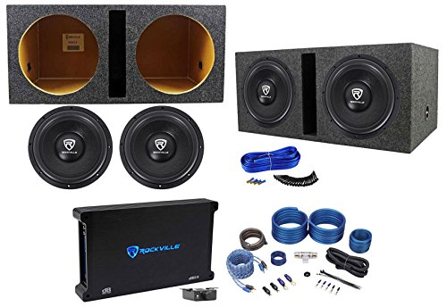 "(2) Rockville W12K6D2 V2 12"" 4800w Subwoofers+Vented Box+Mono Amplifier+Amp Kit"