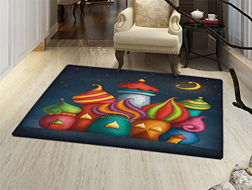 (smallbeefly Fantasy Door Mats for home Oriental Style Arabesque Castles under Starry Sky Fairytale Kids Playroom Graphic Bath Mat Bathroom Mat with Non Slip)