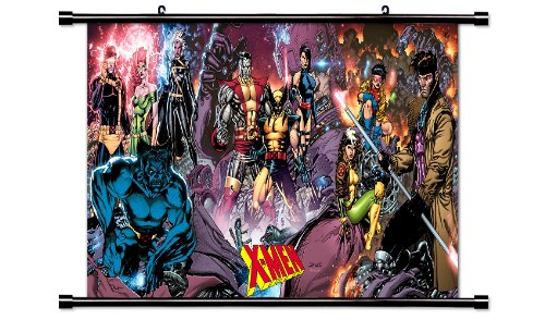 Wall+Scrolls X-Men Comic Fabric Poster (32x16) Inches (Justice League Fabric Poster)