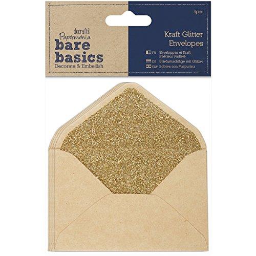 docrafts Papermania Bare Basics Glitter Envelopes, 14 x 10 cm (Glitter Basic)