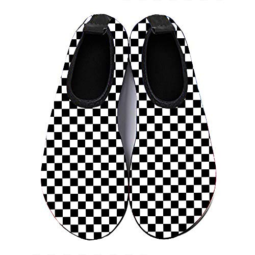 Womens and Mens Kids Racing Checkered Flag Water Shoes Quick Dry Non-Slip Water Sports Shoes Skin Barefoot Aqua Socks