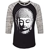 Yoga Clothing For You Mens Buddha Head 3/4 Sleeve Tee
