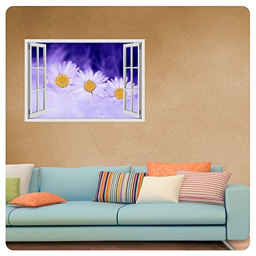 Alonline Art - Graphic Daisy Fake 3D Window Poster Prints Rolled Print on Fine
