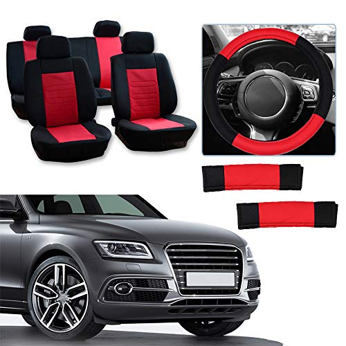 Cover w/Headrest/Steering Wheel Cover/Shoulder Pads - 100% Breathable Car Seat Cover Washable Auto Covers Replacement fit for Most Cars(Black/Red) ()