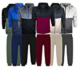 Boys Complete Tracksuit Set Jogging Bottom with Hoodie Age 7 to 13 (Khaki/Black, 7-8 Years)