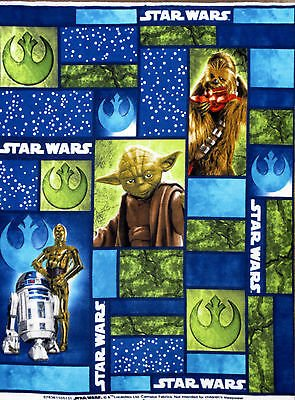 1 Yard - Star Wars Yoda, C3P0 and R2D2 Fleece Fabric- Officially Licensed (Great For Quilting, Sewing, Craft Projects, Throw Blankets, Wall Hangings, and More) 1 Yard x -