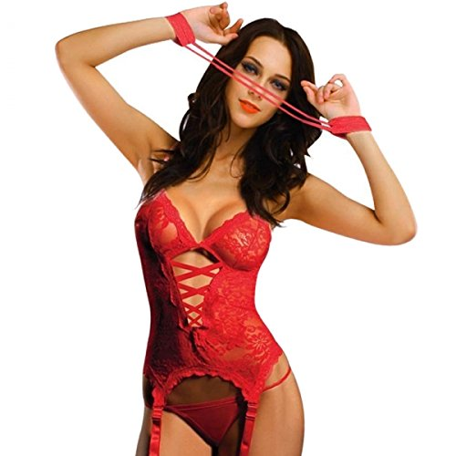 Sexy European Style Translucent Lace Breast-exposed One-piece Lingerie Sleepwear with Garters 6669 L Red by Preciastore