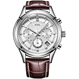 BUREI Men's Stainless Steel Chronograph Sports Watch Stopwatch with Brown Leather