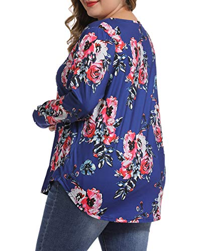 caidyny Floral Print Shirt Long Sleeve Casual V Neck Tops Blouse Fall Shirts for Women Blue