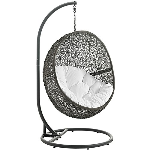 Modway LexMod EEI-2273-WHI-GRY Hide Outdoor Patio Swing Chair, White Gray