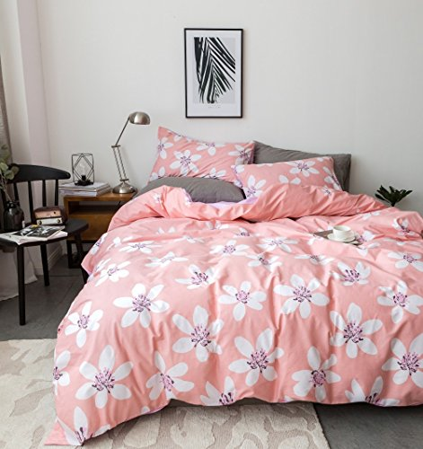 Duvet Cover Set Twin Size 3 Piece (1pc Duvet Cover + 1pc Flat Sheet + 1pc Pillowsham) by WarmGo, 100% Cotton Bedding Set White Floral Flower Pattern - Not Include Comforter by WarmGo
