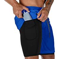 """Gafeng Mens Running 2 in 1 Shorts Workout Gym Yoga Training Sport Soft 7"""" Compression Tight Pants with Phone Pocket"""