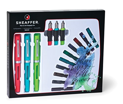 Sheaffer Calligraphy Maxi Kit with 3 Viewpoint Fountain Pens, 3 Nib Sizes, 20 Ink Cartridges in 8 Colors, an Instruction Booklet and a Tracing Pad (83404) by Sheaffer