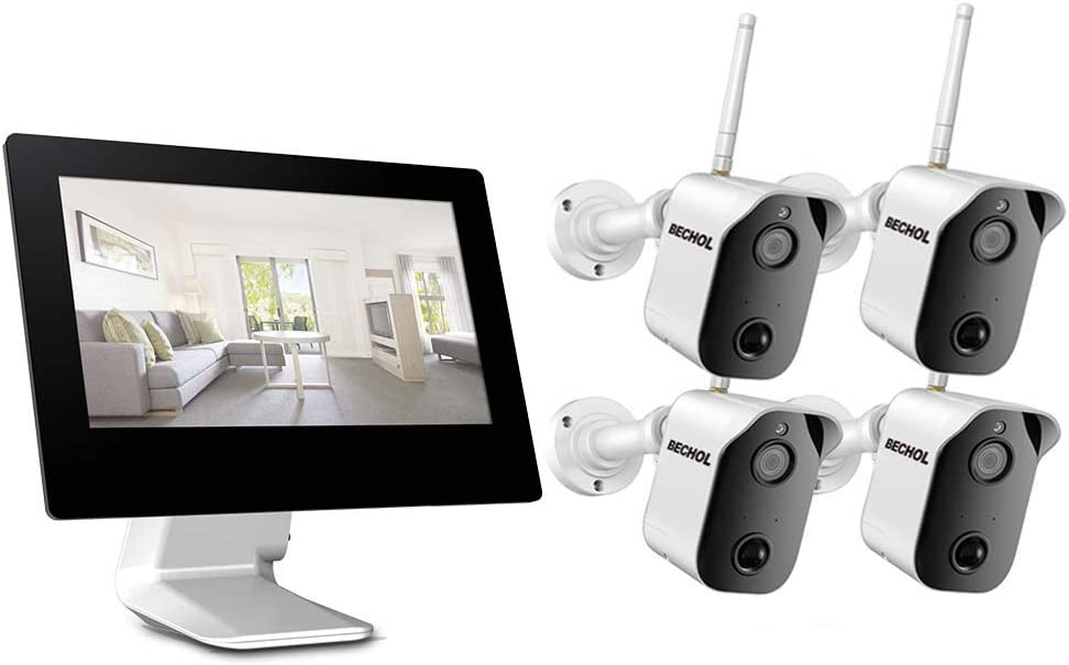 Bechol 1080P Security Camera System with 9 inch Touch Monitor, 4CH WiFi NVR 4Pcs Indoor/Outdoor Surveillance Camera with Night Vision, Rechargeable Battery, Motion Detection, Waterproof, Two-Way Talk