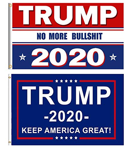 2 Pieces Donald Trump Flag Trump 2020 Flag for President 3 x 5 Feet NO More Bullshit Flag Keep America Great Flag with Brass Grommets - A2 Flag
