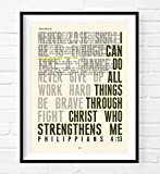 i can do all things art - I Can Do All Things Philippians 4:13 Christian UNFRAMED Art PRINT,Vintage Bible verse scripture dictionary wall & home decor poster, Inspirational gift, 8x10 inches