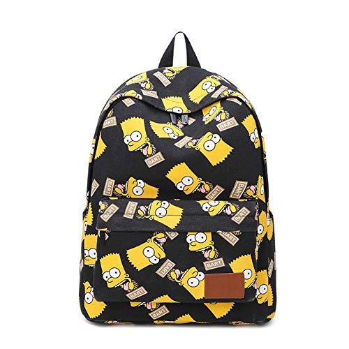 (Cartoon Simpsons Bart Pattern Backpack Canvas School Laptop Travelling Bag)