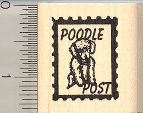 Poodle Dog Rubber Stamp, Faux Postage