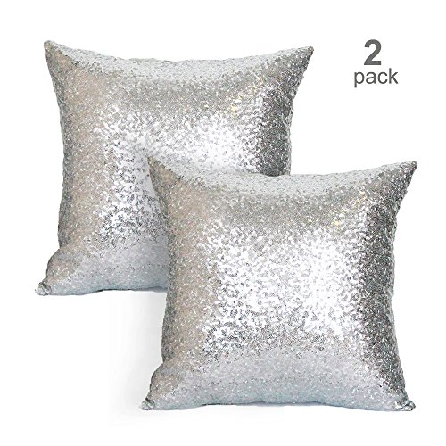 sequin pillow cover- decorative cushion covers- 18x18 inches--2 pack hidden zipper- back side mistique satin fabric- for home, party, wedding & formal events- comes out in multiple colors