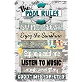 Dyenamic Art Pool Metal Sign - Pool Rules Sign - Patio and Pool Decor - Swimming Pool Party Decorations - Indoor/Outdoor Funn