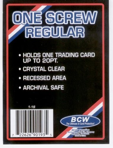 BCW 1 Screw Card Holder - 20 Pt. (Box of 50) - Screwdown - Baseball, Football, Basketball, Hockey, Golf, Single Sports Cards Top Load - Sportcards Card Collecting ()