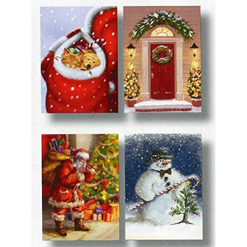 18 Traditional Glitter Holiday Greeting Cards With Envelopes (Snowman With Candy Cane)