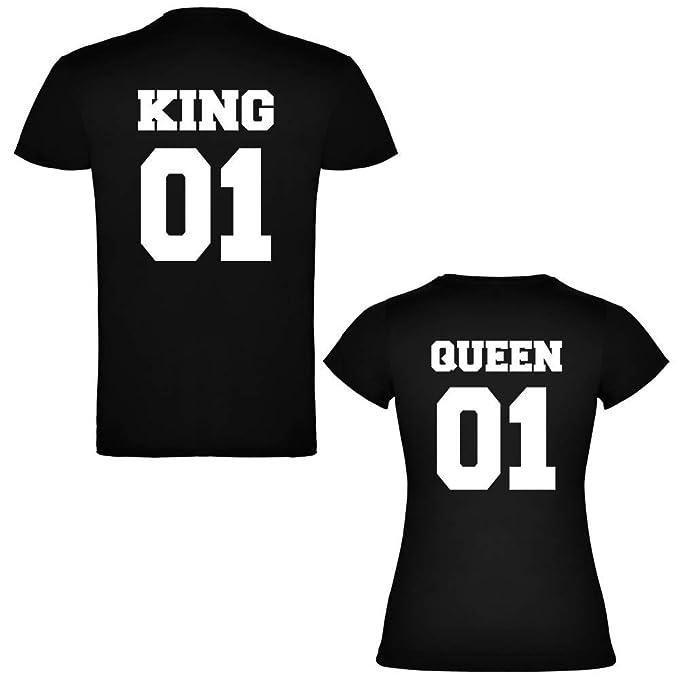 Pack de 2 Camisetas Negras para Parejas, King 01 Bold y Queen 01 Bold, Blanco: Amazon.es: Ropa y accesorios