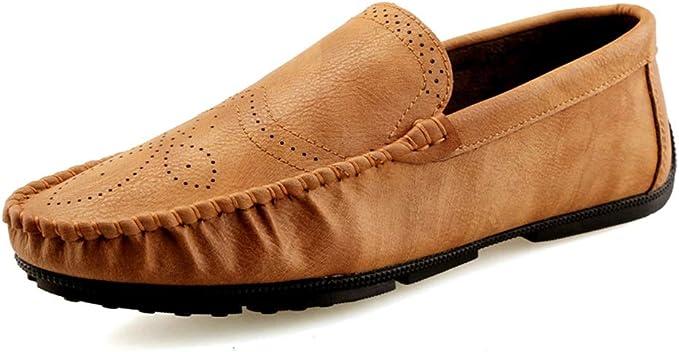 Zhulongjin Mocasines de conducción Penny Casuales Retro for Hombres Mocasines sin Cordones Zapatos náuticos Cuero Genuino Suave Brogue Tallado Suela Antideslizante Resistente al Desgaste Moda: Amazon.es: Hogar