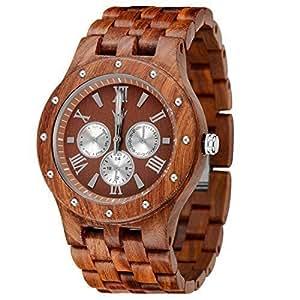 MEKU Men's Wood Wrist Watch Quartz Day Date Wooden Watch Gift (Sandalwood & Redness)