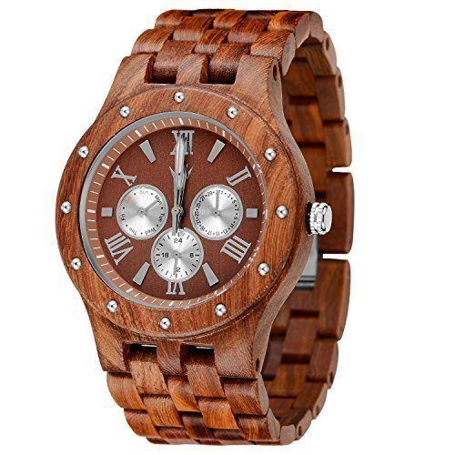 MEKU Men's Wood Wrist Watch Quartz Day Date Wooden Watch Gift (Sandalwood & Redness)
