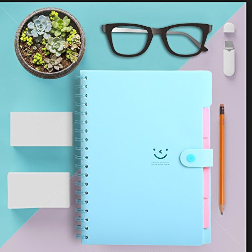Spiral Notebook, 5 Subject Notebooks, Cute Diary, Wide Ruled Large Writing Paper, Colored Hardcover & Divider, 100 Sheets Wire Bound Notepad, 9.8''×7.2'', Smile Journal Memo Planner for Kids Girls Women by IDOMIK (Image #4)