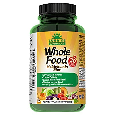 Whole Food Multivitamin Plus Complete Daily Multivitamins for Men and Women, All Natural Vegetable & Fruit Blends, Minerals, Omega 3 & 6, Probiotics & Digestive Enzymes 90 Tablets Vegan