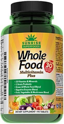 Ultimate Wholefood Multivitamin For Men & Women – Natural Probiotic, Omega 3 & 6, Mushroom & Whole Food Blends With 30 Vitamins & Minerals – Boost Digestion, Immune System & Metabolism – 90 Vegan Tabs