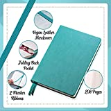 Scrivwell Dotted A5 Hardcover Notebook - 208 Dotted Pages with Elastic Band, Two Ribbon Page Markers, 120 GSM Paper, Pocket Folder - Great for Bullet journaling - Teal