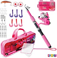 Play22 Kids Fishing Pole Pink - 40 Set Kids Fishing Rod And Reel Combos - Fishing Poles For Youth Kids Include