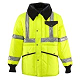 RefrigiWear HiVis Iron-Tuff Jackoat with High Visibility Reflective Tape, Lime 2XL