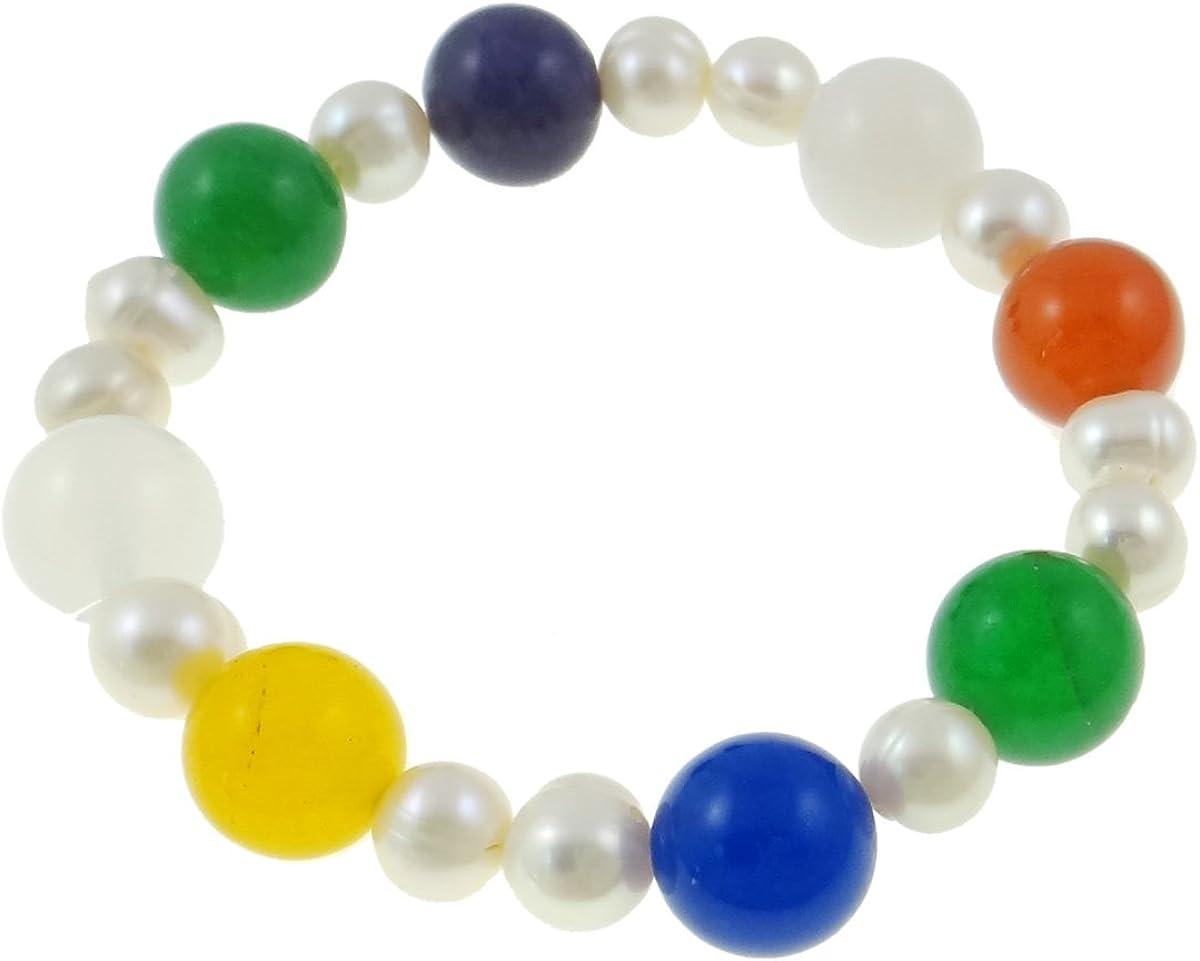 Vifaleno Pulsera de perlas de agua dulce de leche piedrapreciosa, naturalmente, multicoloures, 7-8mm, 12 mm de diámetro, elástico