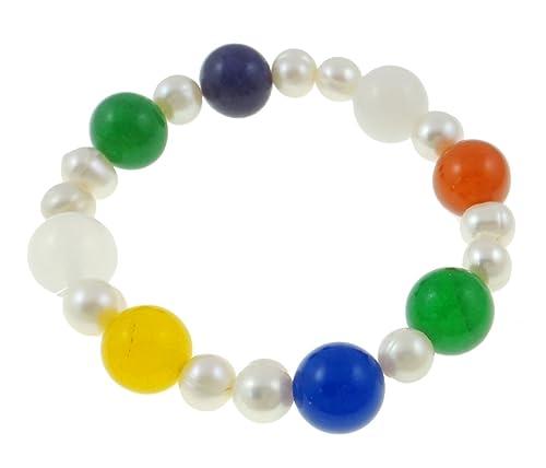 Vifaleno Pulsera de perlas de agua dulce de leche piedrapreciosa, naturalmente, multicoloures, 7-8mm, 12 mm de diámetro, elástico: Amazon.es: Joyería