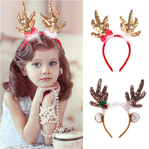 Reindeer Christmas Headbands Deer Horns Head Adornment Christmas Decorations on the Head Christmas Hair Accessories (Random)