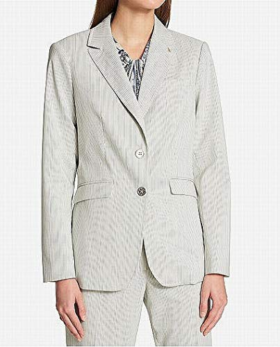 Tommy Hilfiger Womens Anchor Detail Pinstripe Two-Button Blazer Green 6 -