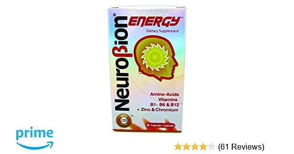 Amazon.com: 60 Caps Neurobion Energy - Amino Acids Vitamin B1 B2 B6 B12 - Increases Brain Alertness & Stamina: Health & Personal Care