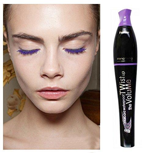 Waterproof Color Mascara, Professional Mascara, Blue Purple Black Green Brown Mascara Charming Longlasting Makeup for Eye Makeup(Purple)]()