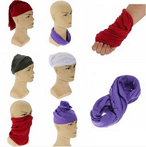 Color: Black Multi-function Unisex Bandanas Head Wrap Scarf Wrist Band Hat Men Women STCorps7