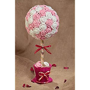 Handmade Decorative Topiary Tree With White And Pink Paper Roses With Beads 80
