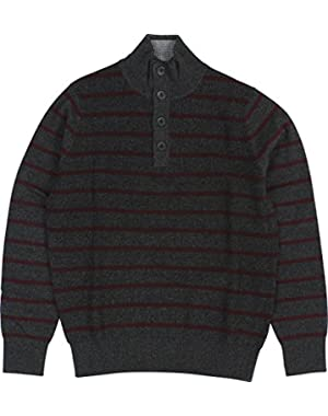 Men's Striped Buttoned Mock-Neck Sweater X-Large Charcoal Heather