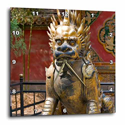 3dRose dpp_72222_2 Qing-Era Guardian Lion, Forbidden City, Beijing, China-AS07 JMI0068-Janis Miglavs-Wall Clock, 13 by 13-Inch