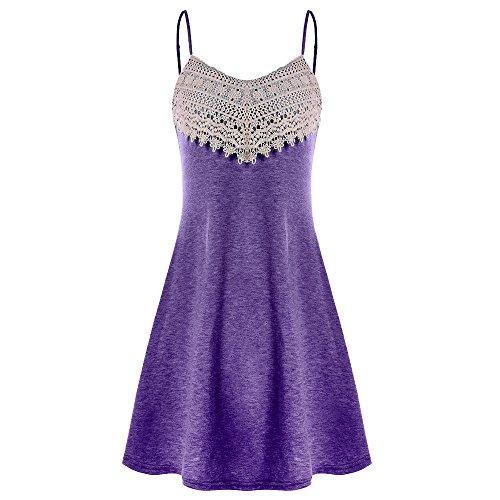 Lljin Fashion Womens Crochet Lace Backless Mini Slip Dress Camisole Sleeveless Dress ()