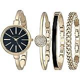 Anne Klein Women's AK/1470GBST Gold-Tone Watch and Bracelet Set